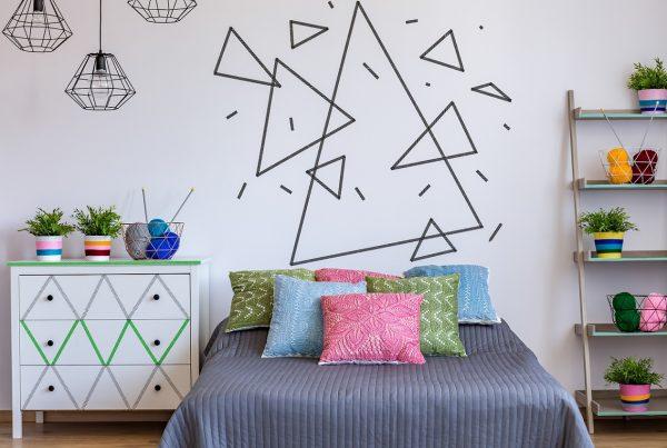 geometria na decoração - quarto colorido