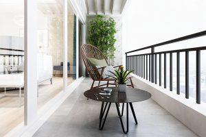 Móveis para varanda - mesa e cadeira marrons